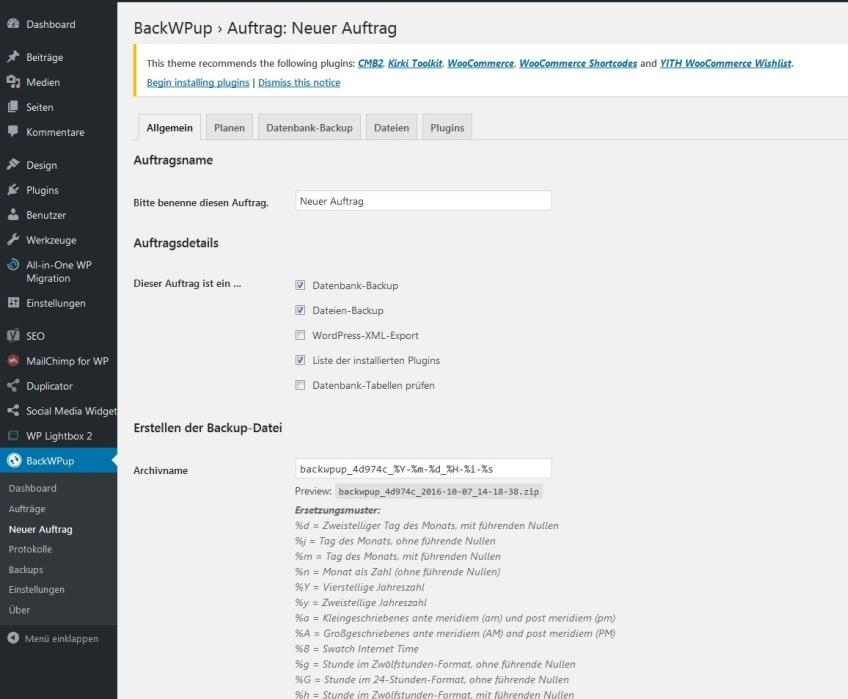 BackWPup-Übersicht zur Erstellung eines WordPress-Backups
