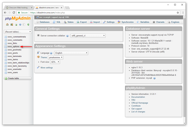 Click wp-options in phpMyAdmin