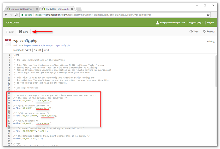 Edit details in wp-config,php