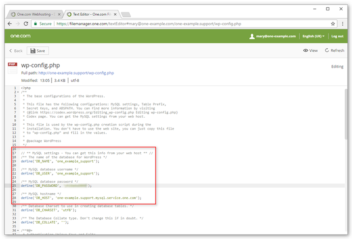 Find details in wp-config.php