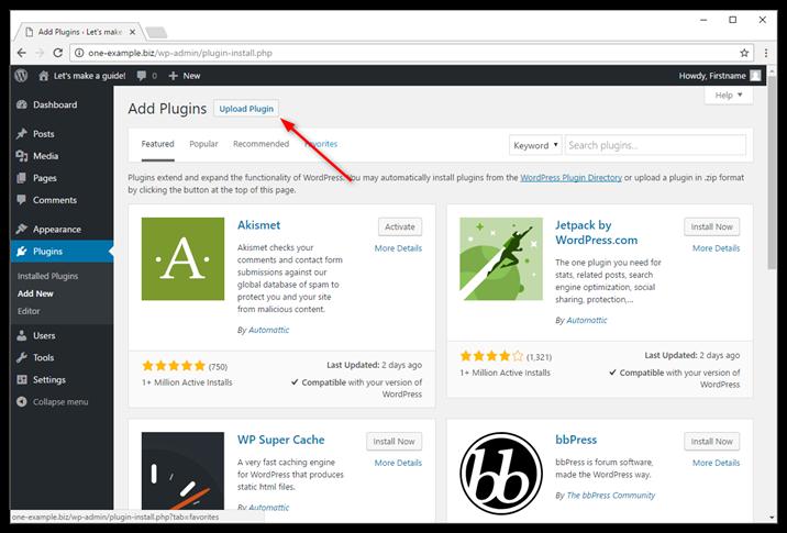 Click Upload Plugin in the top left corner