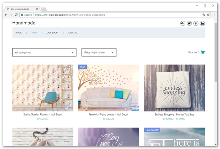 You can now see your webshop in your WordPress site