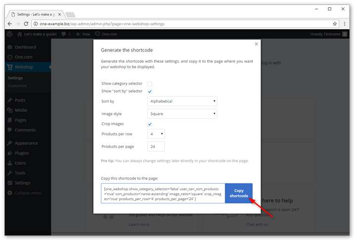 Adjust the settings to your liking and click Copy code