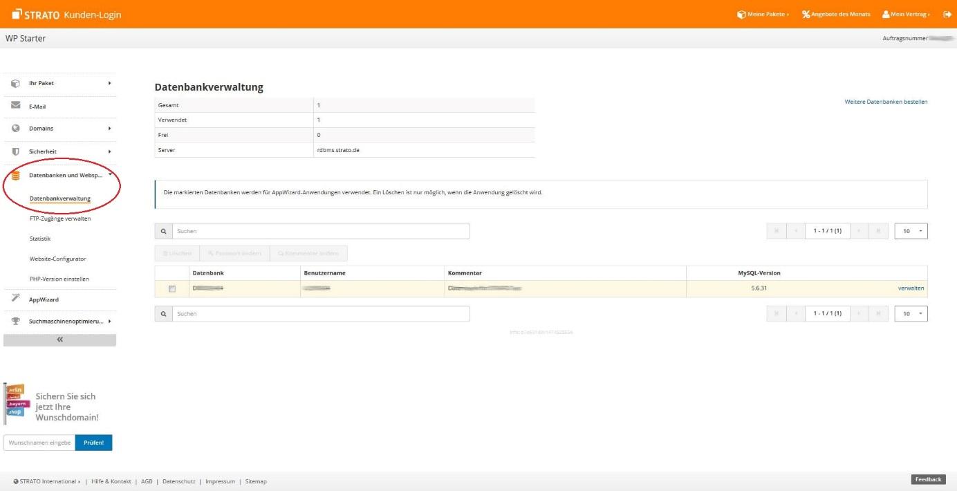 Datenbank erstellen, um WordPress zu installieren