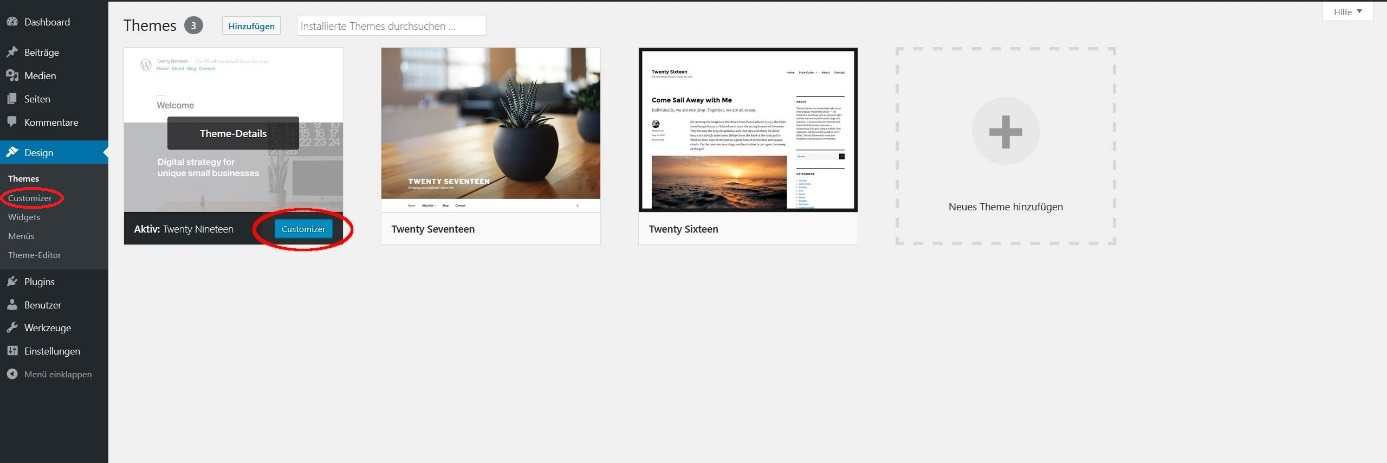 Customizer-Button zum WordPress-Themes anpassen