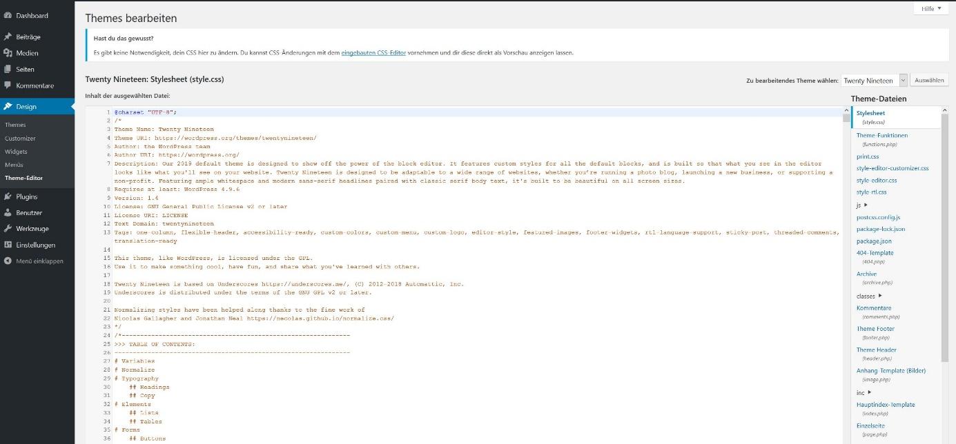 WordPress-Theme-Editor mit beispielhaftem CSS-Code