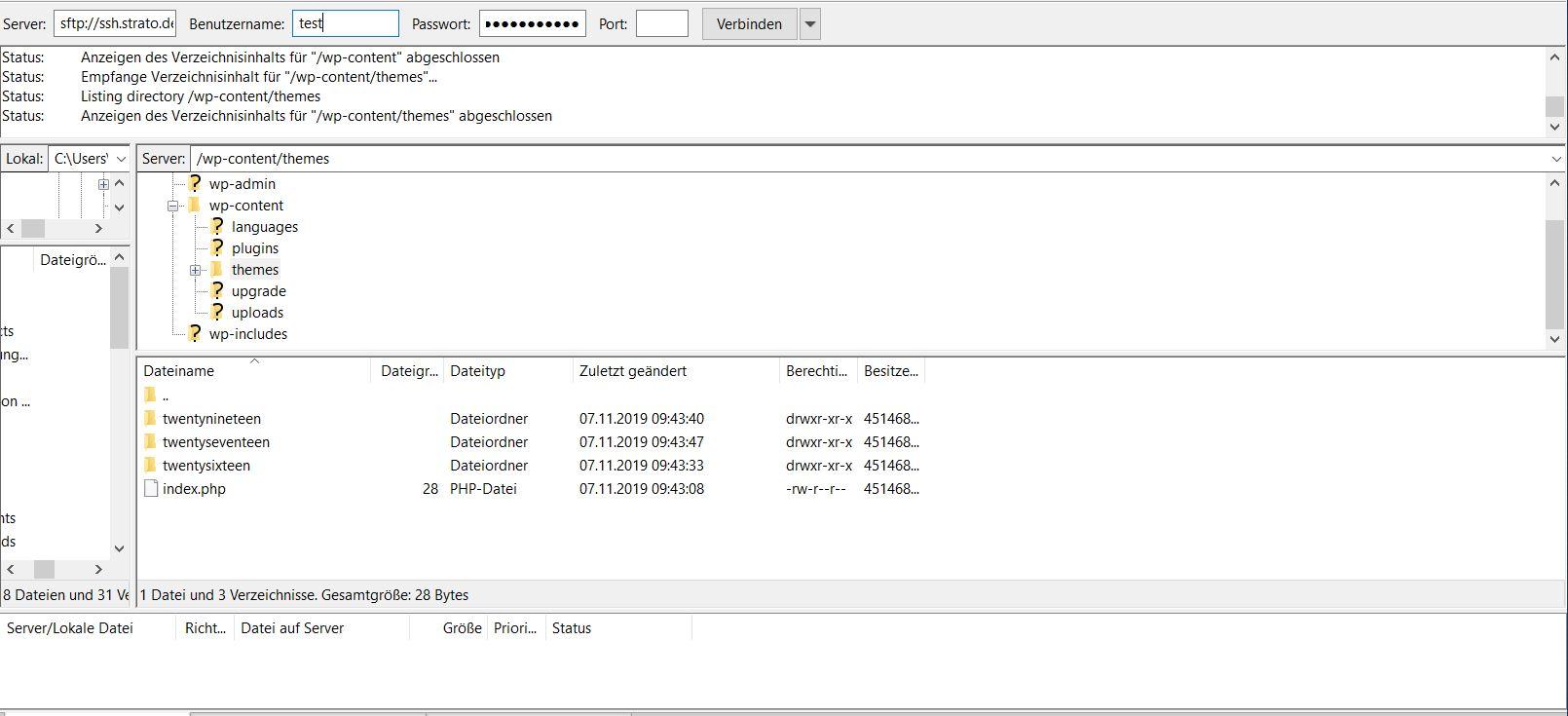 WordPress-Themes installieren über einen FTP-Client