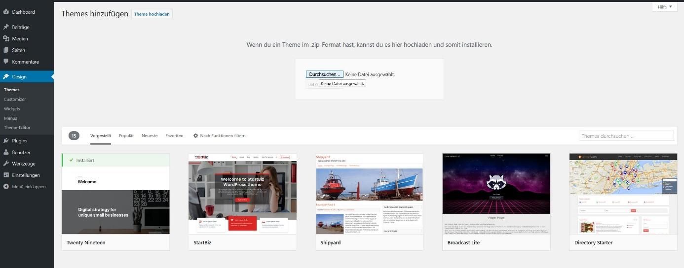 WordPress-Themes installieren: Themes vom Computer aus hochladen
