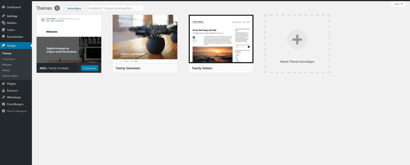 WordPress-Themes installieren: Das Menü