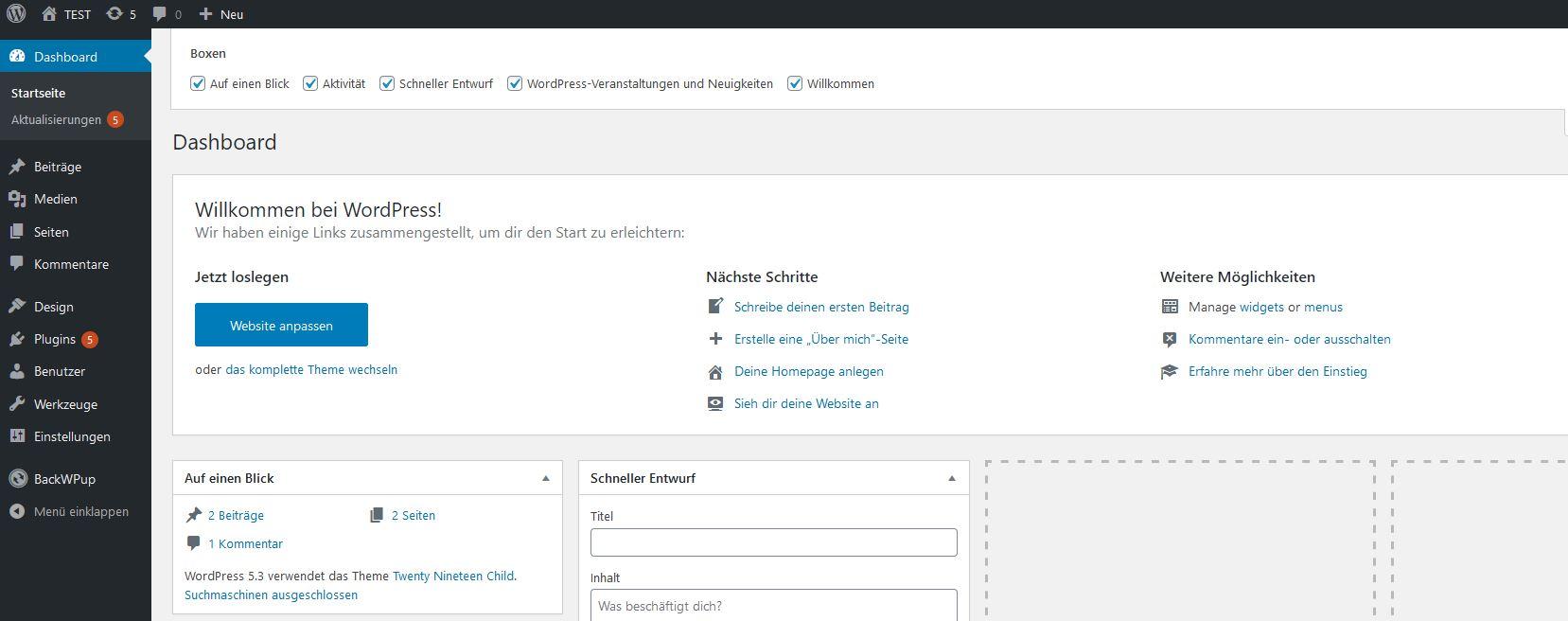 Aktuelle WordPress-Version im Dashboard überprüfen