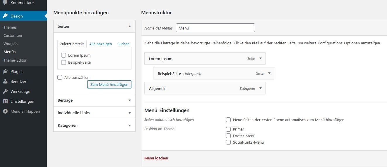 WordPress-Tutorial: Menüstruktur aus Seiten und Kategorien